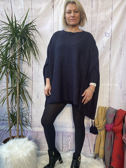 Navy diamanté poncho style jumper, fitting up to a 24.    5559