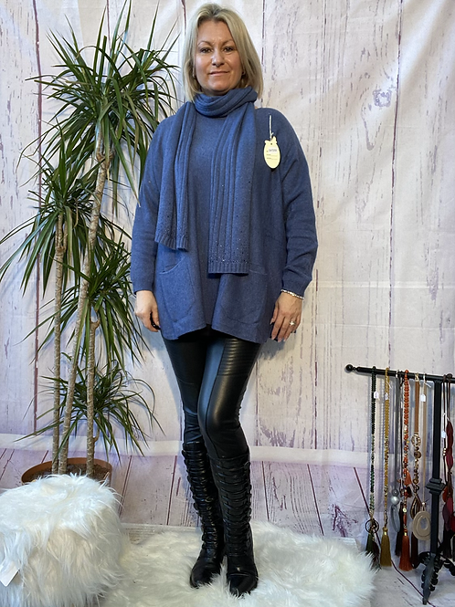 Denim loose fit soft knit jumper and matching scarf.    7259