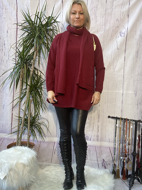 Wine loose fit soft knit jumper and matching scarf.    7259