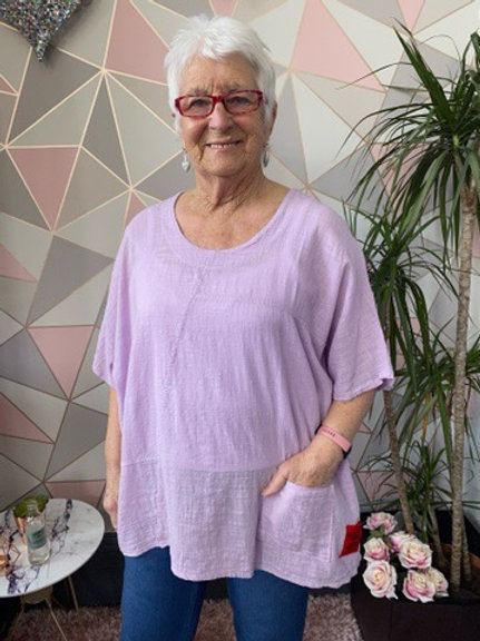 Lilac red label cotton top, fitting up to a size 22