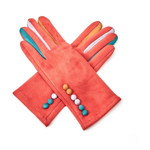 Rust super soft gloves with multi colour buttons