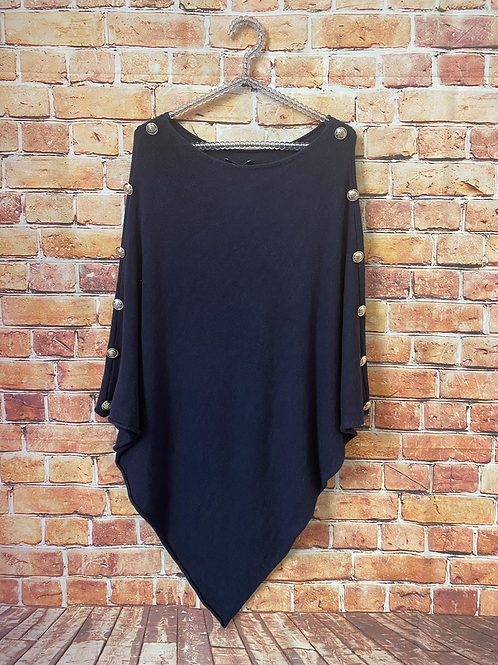 Navy knitted poncho