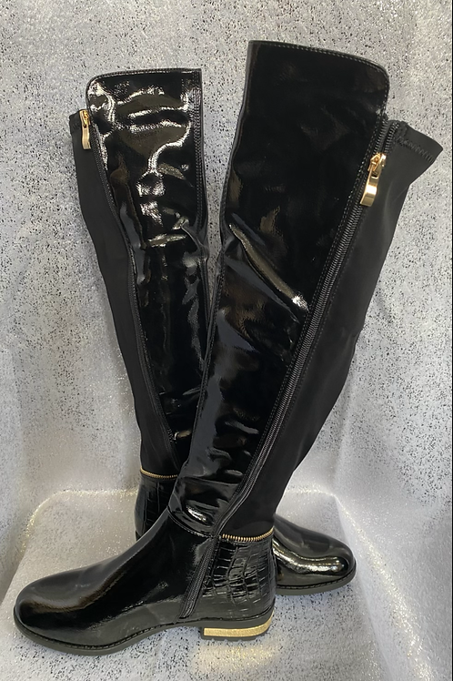 Knee high black patent look boots