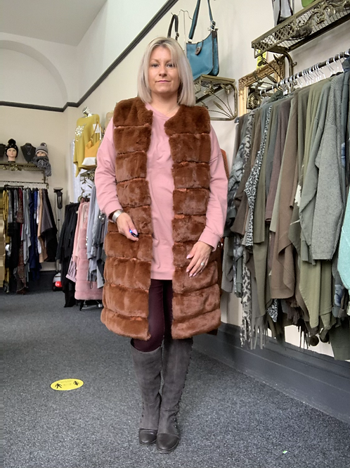 Tan knee length  faux fur hooded gilet fitting up to a size 16