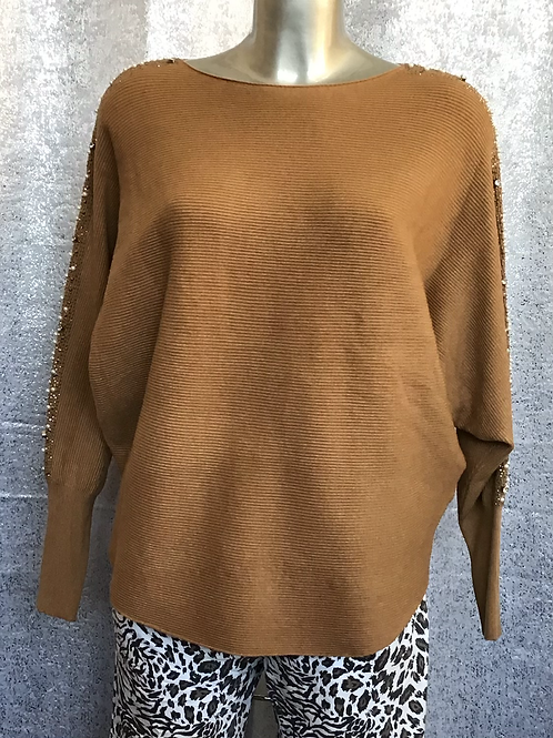 Caramel bling ribbed jumper, fitting up to a size 16.    5996