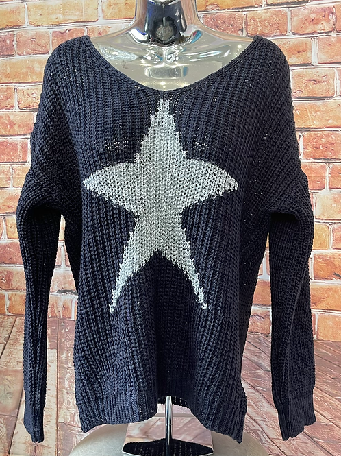 Navy chunky knit star jumper, fits sizes up to 14