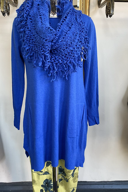 Cobalt blue  jumper and scarf fitting up to a size 18