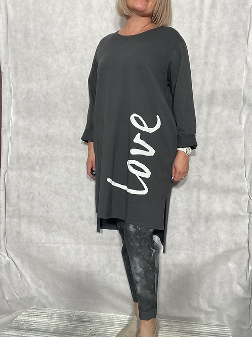 Grey Love top /tunic fitting up to a size 18.  2033