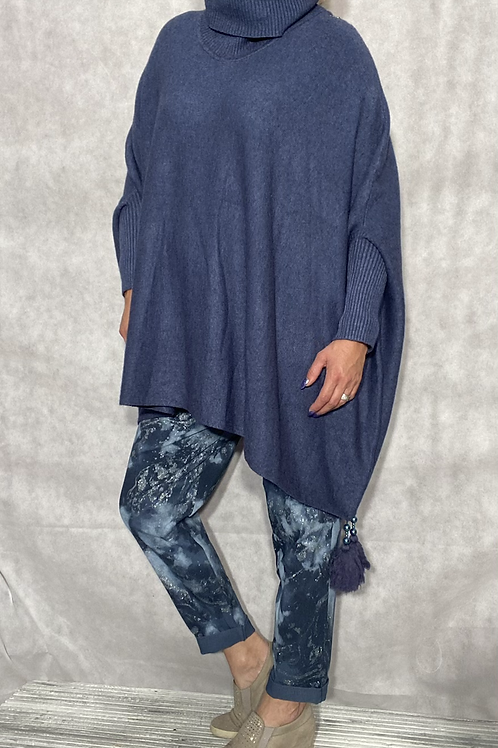 Blue tassel detail poncho jumper fitting up to a size 24 2909