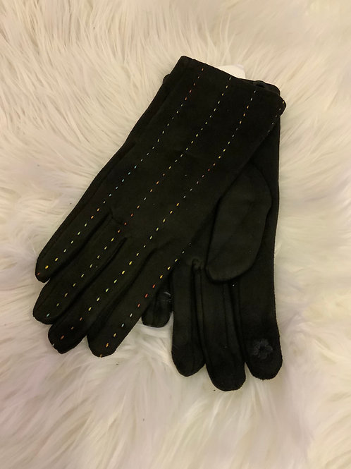 Black super soft gloves with multi colour stitching