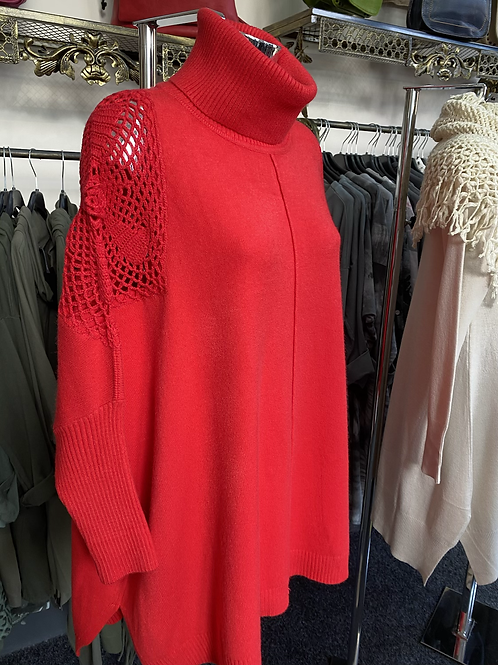 Red roll neck lace shoulder jumper fitting up to a size 20