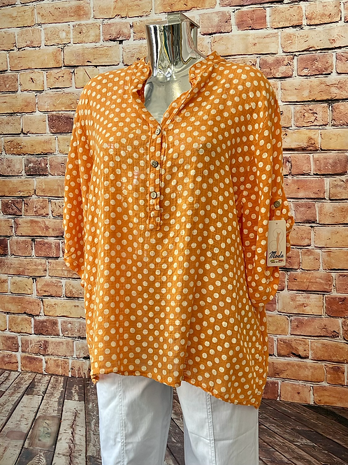 Orange Polka Dot cotton top, fitting up to a size 18