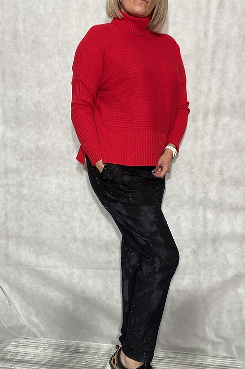 Red ribbed detail roll neck jumper fitting up to a size 18 6540
