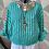 Thumbnail: Teal and white Stripes cotton top fitting size 14 to 20