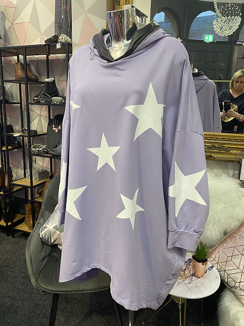 Lilac stars hooded top fitting up to a size 24