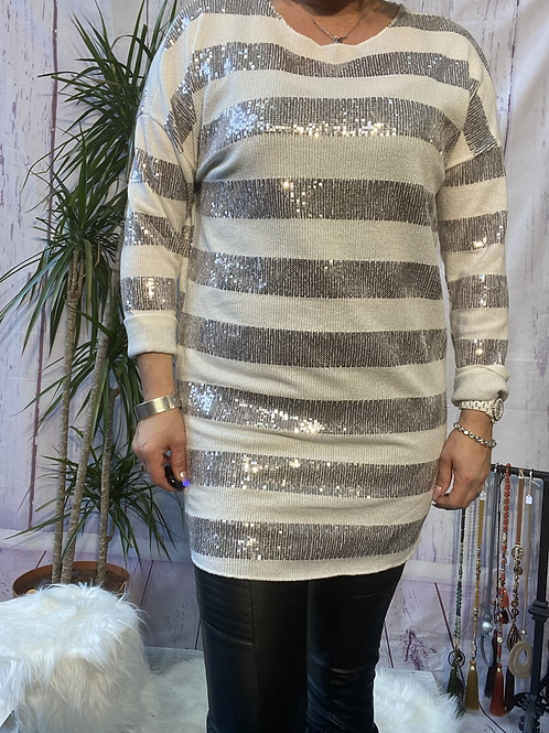 White orange sparkly stretchy tunic, fitting up to a size 16.   9113