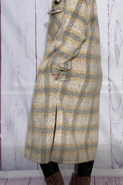 Brown and yellow check wool mix shirt style coatigan fitting from a size 12-20