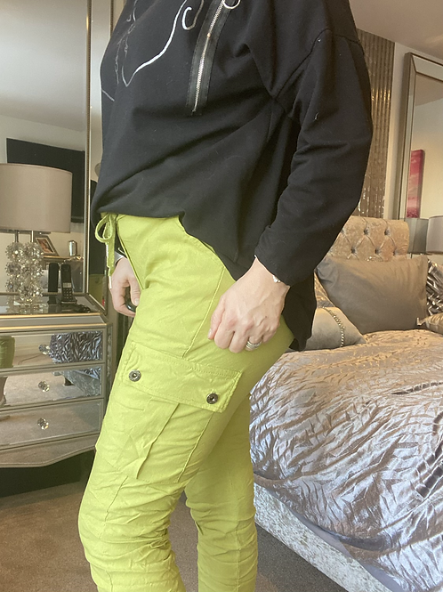 Lime cargo Magic  Stretch Crushed Trousers fitting 8-18