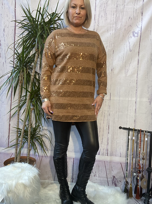Camel orange sparkly stretchy tunic, fitting up to a size 16.   9113