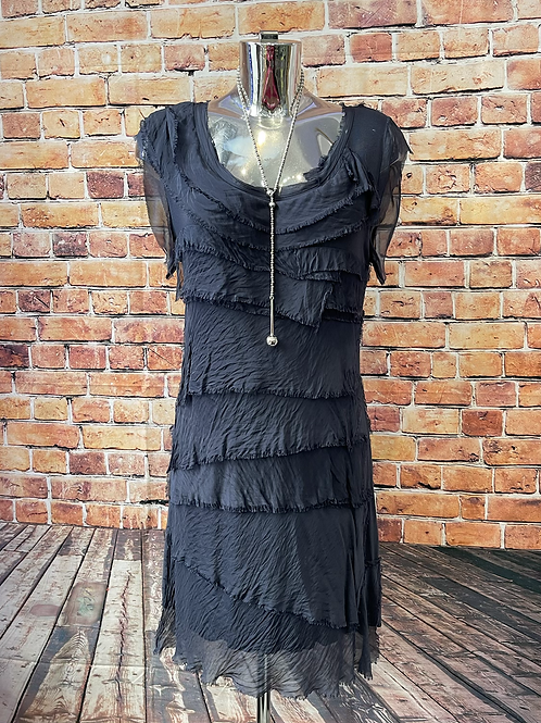 Navy silky layer dress, fitting sizes 8-16
