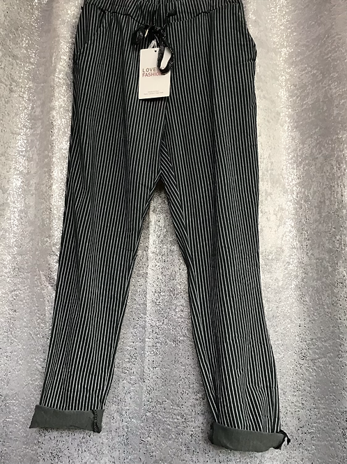 Charcoal pinstripe magic joggers, fitting from a size 10-20.   0408