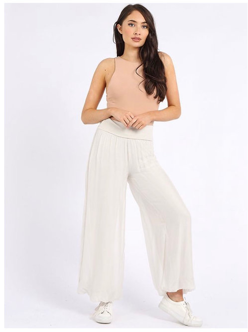 Beige Made in Italy Plain Classy Silk Palazzo Pant