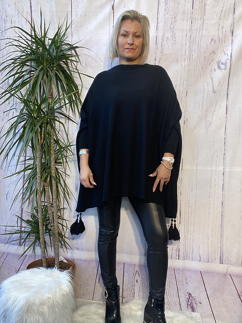 Black tassel detail poncho jumper fitting up to a size 24 6111