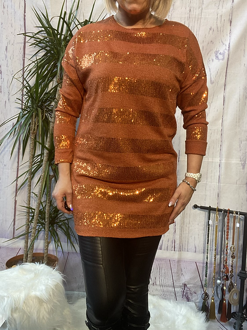 Burnt orange sparkly stretchy tunic, fitting up to a size 16.   9113