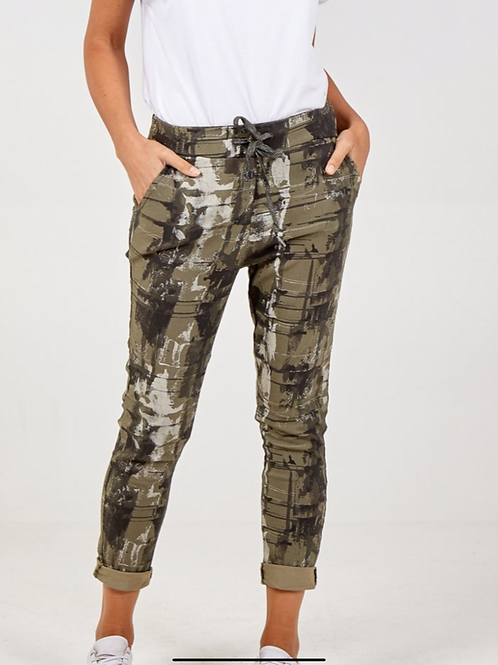 Khaki  marble print magic joggers fitting up to a size 20