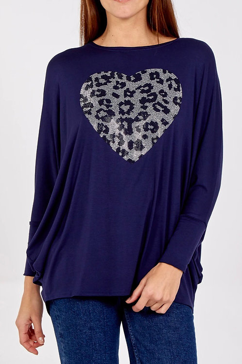 Oversized Batwing Top With Diamante Heart fitting up to a size 18