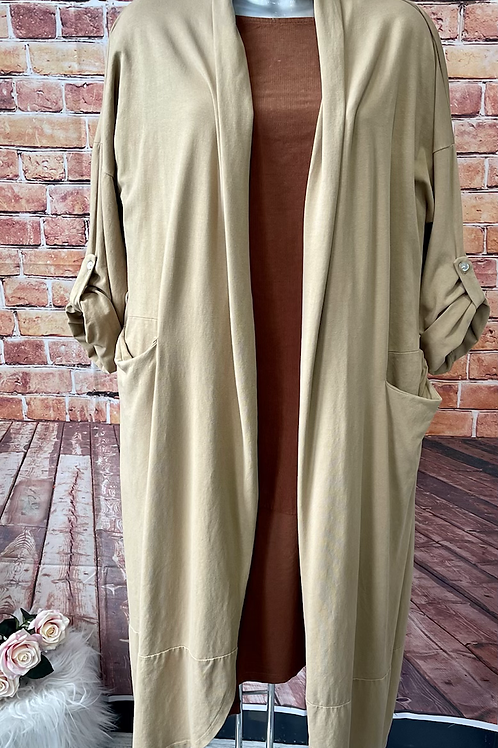 Latte cardigan with drawstring at the back