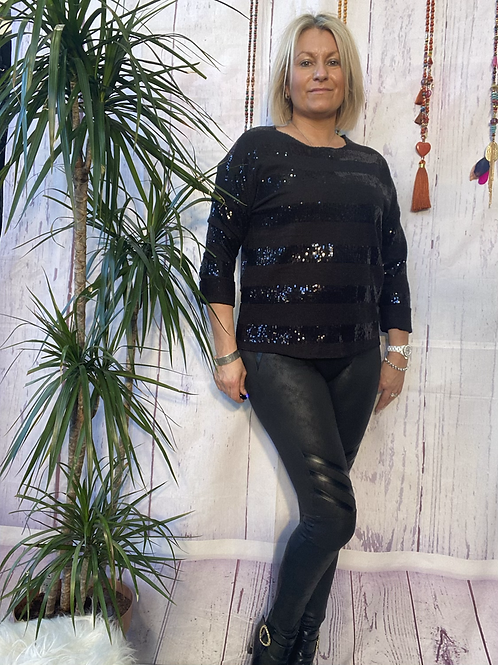 Black stretch sparkly top, fitting up to a size 14.