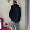 Thumbnail: Black and grey hooded quirky back Top fitting up to a size 22
