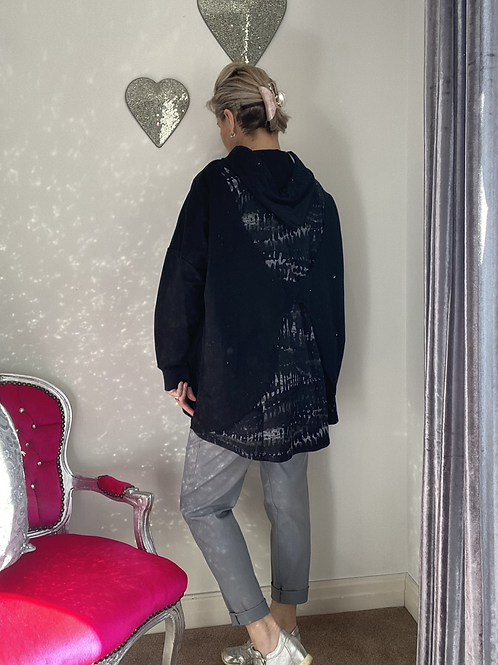 Black and grey hooded quirky back Top fitting up to a size 22