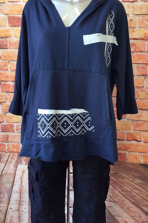 Navy Aztec hooded top, fits sizes 8-16