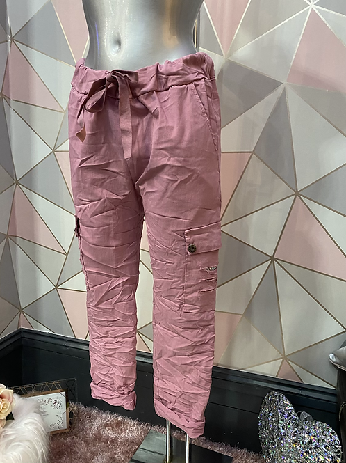 Pink cargo Magic  Stretch Crushed Trousers fitting 8-18