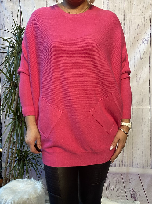 Cerise criss cross detail jumper fitting up to a size 18 6516