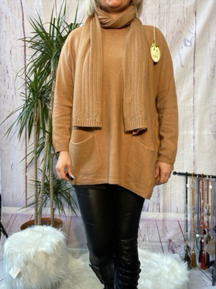 Camel loose fit soft knit jumper and matching scarf.    7259
