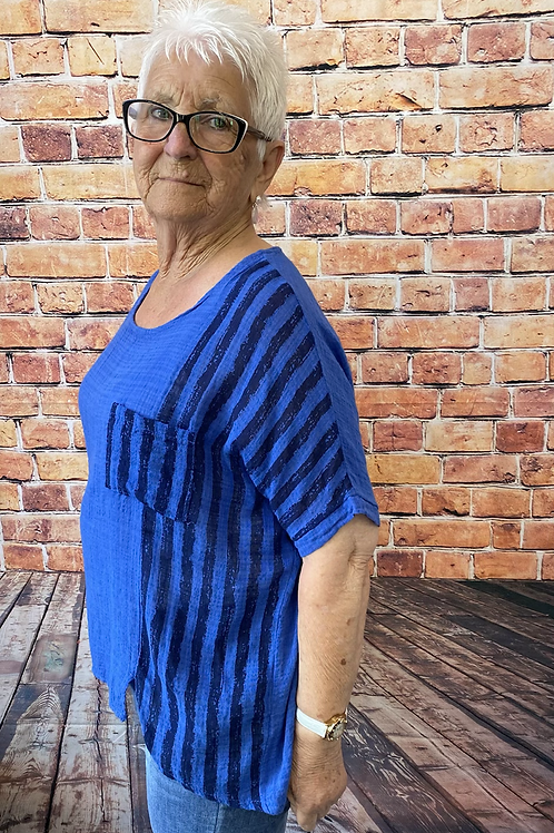Royal blue  cotton top, fitting sizes 10-16