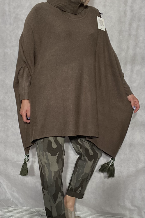 Khaki tassel detail poncho jumper fitting up to a size 24 2909