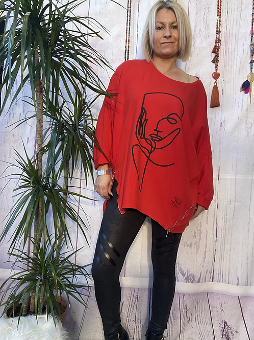 Red Picasso sweatshirt fitting up to a size 18.  12113