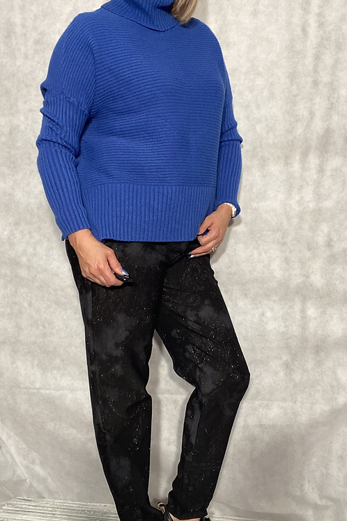 Royal blueribbed detail roll neck jumper fitting up to a size 18 6540