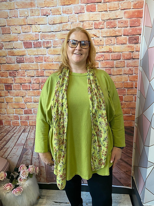 Lime quirky elasticated top, fitting up to a size 22