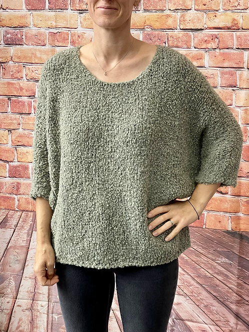 Khaki slouchy teddy jumper, fitting from a 12 to 20