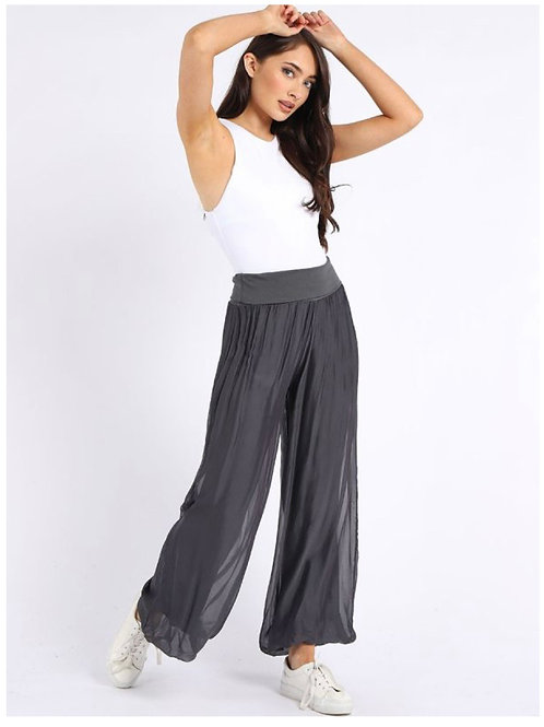 Charcoal Made in Italy Plain Classy Silk Palazzo Pant