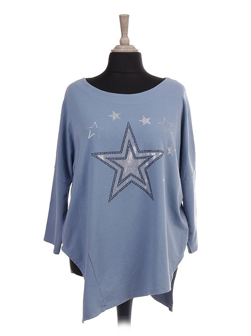 Denim diamanté stars top, fitting sizes 12-18