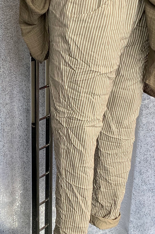 Mocha pinstripe magic joggers, fitting from a size 10-20.   0408