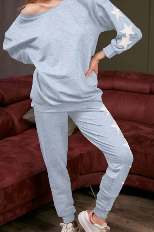 Grey Slouchy Star Tracksuit sized fitting 8-12