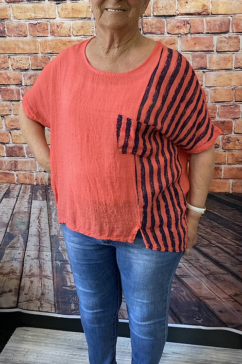 Coral  cotton top, fitting sizes 10-16