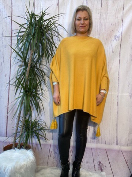 Mustard tassel detail poncho jumper fitting up to a size 24 6111